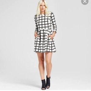 K by Kersh black and white windowpane dress